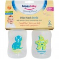 Happy Baby Steadiflow Wide Neck Decorated Bottle 250 ml 2 pack